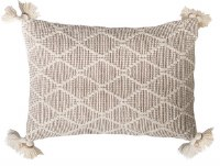 """14"""" x 20"""" Ivory and Beige Diamond Pattern Pillow With Tassels"""