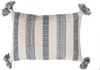 """14"""" x 20"""" Natural and Blue Striped Pillow With Tassels"""