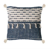 """18"""" Square Natural and Blue Fringe Pillow With Tassels"""