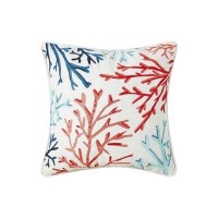 """18"""" Square Blue and Red Embroidered Coral Pillow"""