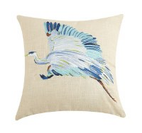 """16"""" Square Embroidered Flying Blue Crane Pillow"""