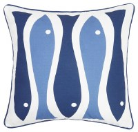 """20"""" Square Navy and Blue Fish Pillow"""