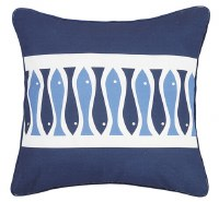 """20"""" Square Navy With Two-Tone Blue Fish Stripe Pillow"""