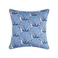 """20"""" Square White With Light Blue Scallop Shells Pillow"""