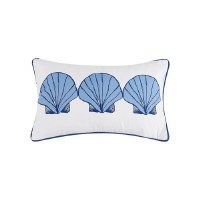 """5"""" x 12"""" White With Light Blue Scallop Shells Pillow"""