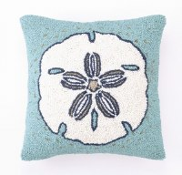 """16"""" Square Aqua With White and Blue Sand Dollar Hooked Pillow"""