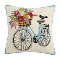 """18"""" Square Blue and White Floral Bike Hooked Pillow"""