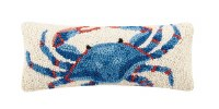 """5"""" x 12"""" White With Blue and Red Crab Hooked Pillow"""