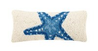 """5"""" x 12"""" White With Blue Starfish Hooked Pillow"""