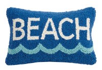 """8"""" x 12"""" Blue Beach With Wave Hooked Pillow"""