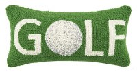 """9"""" x 18"""" Green and White Golf With Ball Icon Hooked Pillow"""