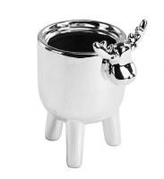 "5"" Silver Ceramic Three Leg Moose Pot"