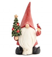 """13"""" Red Polyresin LED Gnome With Christmas Tree and Cardinal"""