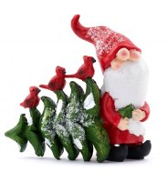 """4"""" Red Polyresin Gnome Carrying Tree With Cardinals"""