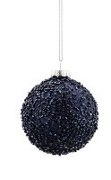 "3"" Round Navy Beaded Glass Ball Ornament"