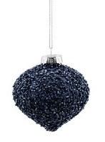 "3"" Navy Beaded Glass Onion Ornament"