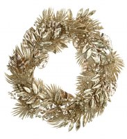 """20"""" Round Faux Gold Tropical Mixed Foliage Wreath"""