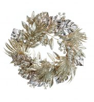 """6.5"""" Opening Faux Gold Tropical Mixed Foliage Candle Ring"""