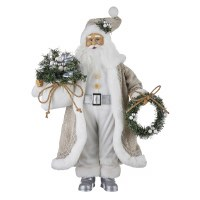 "18"" White, Beige and Silver Santa With Wreath and Bag"