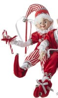 "16"" Red and White Posable Elf With Candy Cane"
