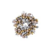 """1"""" Opening Faux Silver and Gold Beaded Berry Candle Ring"""