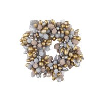 """2"""" Opening Faux Silver and Gold Beaded Berry Candle Ring"""