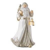 "15"" White, Silver and Gold Polyresin Santa With LED Lantern and Bag"