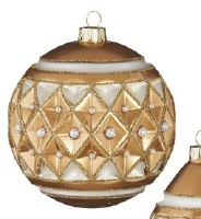 """4"""" Round Gold Glass With Diamond Point Pearls Ball Ornament"""