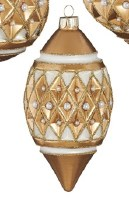 """5"""" Gold Glass With Diamond Point Pearls Diamond Ornament"""