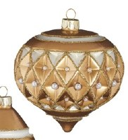 """4"""" Gold Glass With Diamond Point Pearls Onion Ornament"""