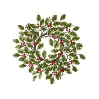"""4"""" Opening Faux Variegated Holly and Berries Candle Ring"""