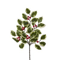 """16"""" Faux Variegated Holly and Berries Spray"""