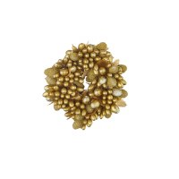 """1"""" Opening Faux Gold Beaded Berry Candle Ring"""