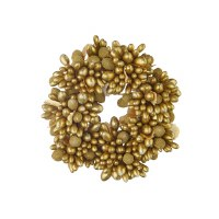 """2"""" Opening Faux Gold Beaded Berry Candle Ring"""
