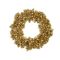 """3"""" Opening Faux Gold Beaded Berry Candle Ring"""
