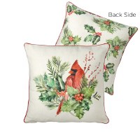 """18"""" Square Cardinal on Branch and Holly Print Pillow"""