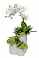 """18"""" White Orchid and Grasses in Three Tiered White Ceramic Vase"""