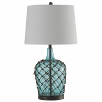 "29"" Aqua Glass With Net Table Lamp"