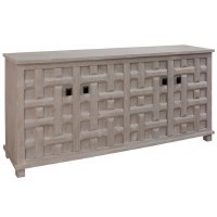 "71"" Light Gray Wood Lattice Four Door Credenza"
