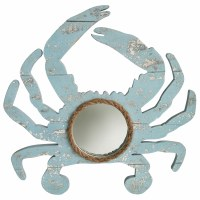 "18"" Blue Weathered Wood Crab Wall Mirror With Rope Accent"