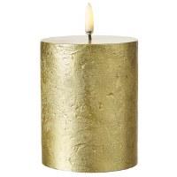 "3"" x 5"" Gold Textured LED 3D Flame Pillar Candle"