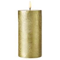 "3"" x 7"" Gold Textured LED 3D Flame Pillar Candle"
