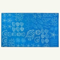 3' x 5' Light Blue and White Shell Seekers Rug