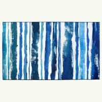 3' x 5' Blue and White Sapphire Stripe Rug