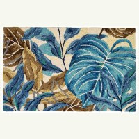 """22"""" x 34"""" Blue and Brown Jungle Rug"""