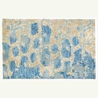 "22"" x 34"" Blue and Tan Meditation Rug"