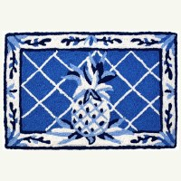 """20"""" x 30"""" Blue and White French Country Pineapple Rug"""