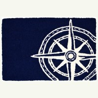 """20"""" x 30"""" Navy and White Compass Rose Rug"""