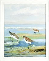 """32"""" x 26"""" Sandpiper Facing Each Other Gel Textured Print in White Frame"""