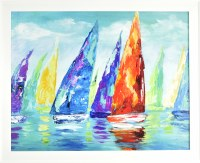 """26"""" x 32"""" Orange Sailboat on the Right Gel Textured Print in White Frame"""